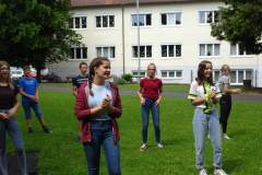 Probe im Freien am Schulgelände